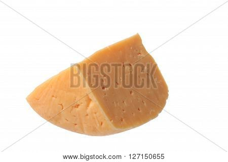 A piece of delicious porous cheese on a white background