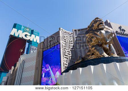 LAS VEGAS, NEVADA - SEPTEMBER 9, 2015: Exterior views of the MGM Grand Casino on the Las Vegas Strip on September 9 2015. The MGM Grand Casino is a famous and popular luxury casino in Vegas.
