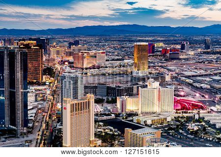 LAS VEGAS, NEVADA - SEPTEMBER 9, 2015: View of Las Vegas and the Las Vegas Strip from above on sunset on September 9 2015. Las Vegas is known primarily for gambling shopping and fine dining.