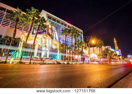 LAS VEGAS NEVADA - SEPTEMBER 9, 2015: Exterior views of the Flamingo Casino Resort on the Las Vegas Strip on September 9 2015. The Flamingo Casino Resort is a famous and popular luxury casino in Vegas.