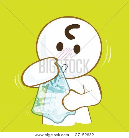 Cartoon pantomime drinking water in plastic bag cute acting design on green background