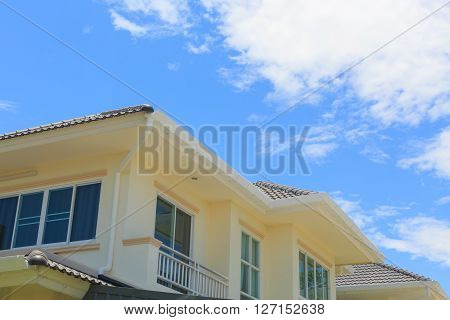 new modern house with clear blue sky background