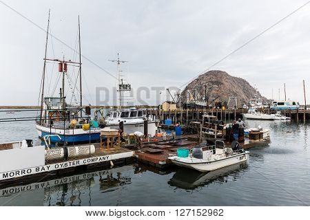 MORRO BAY, CALIFORNIA - SEPTEMBER 14, 2015: View of the Morro Bay and the harbor on a cloudy day on September 14 2015. Morro Bay is a small village along the route 101 at Californias coast line.