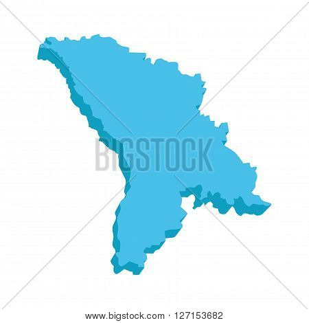 A map of Moldova 3D on white background