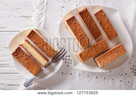 Japanese Cake Kasutera Close-up On A Plate. Horizontal Top View