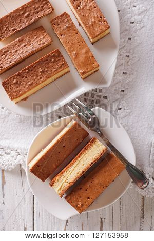 Castella Japanese Cake On A Plate Closeup. Vertical View From Above