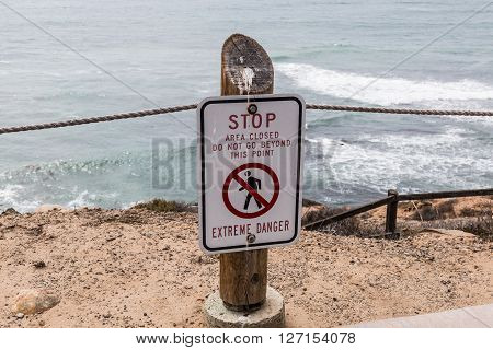 Danger sign at the Point Loma tidepools in San Diego, California.