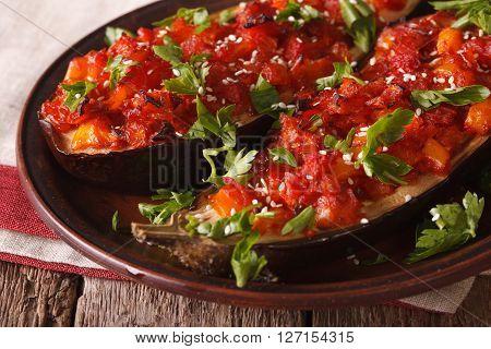 Imam Bayildi. Baked Eggplant Stuffed With Vegetables Macro. Horizontal