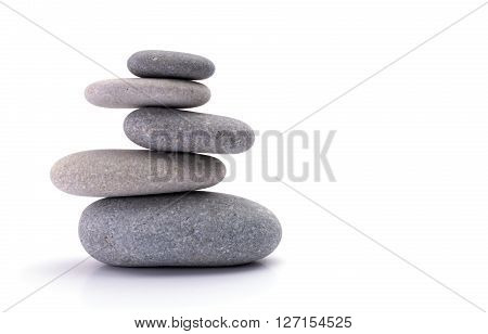 spa stones isolated white the background, balance and harmony