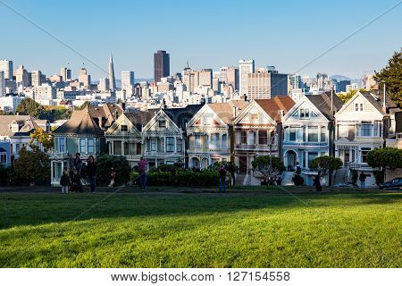 SAN FRANCISCO CALIFORNIA - SEPTEMBER 17, 2015: Views of the skyline of San Francisco with its typical houses on September 17, 2015. San Francisco is popular by tourist and one of the biggest cities in US.