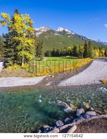 The shallow stream among green and yellow grass lawns. Delightful park Banff in the Rocky Mountains of Canada