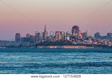 View of San Francisco city at sunset
