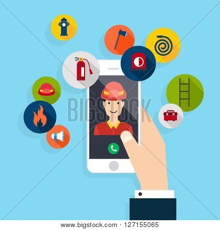 Emergency Call. Vector Modern Creative Flat Design On Hand Holding Cellphone With Fire Call. Vector