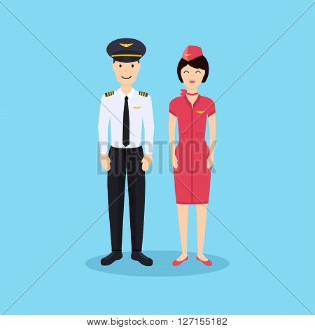 Pilot And Stewardess In Uniform In Flat Design. Vector Illustration.