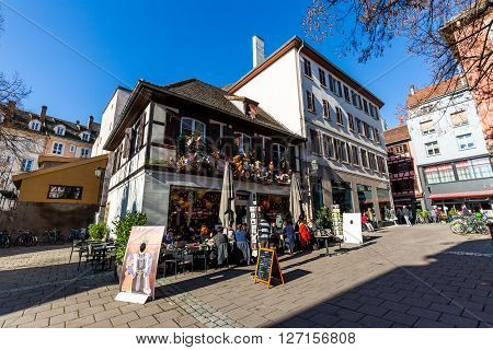STRASBOURG FRANCE - NOVEMBER 5, 2015: Exterior views of historic buildings and landmarks in the old town part of Strasbourg on November 5, 2015. Strasbourg is a city in region Alsace in France.