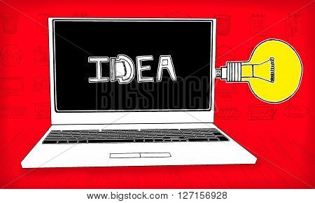 Laptop Connected With A Usb Stick Stylized As A Idea Bulb Concept - Idea Text In Laptop Screen