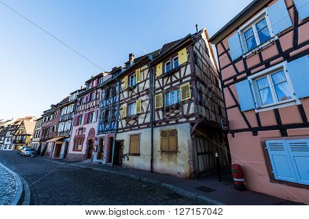 COLMAR FRANCE - NOVEMBER 5, 2015: Exterior views of historic buildings and landmarks in the old town part of Colmar on November 5 2015. Colmar is a city in region Alsace in France.