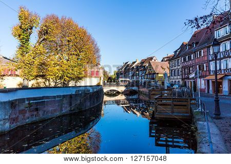 COLMAR FRANCE - NOVEMBER 5, 2015: Exterior views of historic buildings and landmarks in the old town part of Colmar on November 5, 2015. Colmar is a city in region Alsace in France.