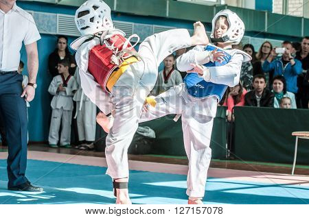 Orenburg, Russia - 23.04.2016: Taekwondo Competitions Among Boys