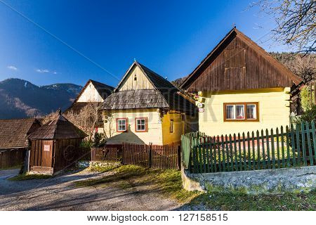 VLKOLINEC SLOVAKIA - DECEMBER 24, 2015: Views of the village Vlkolinec and its typical heritage houses on December 24, 2015. Vlkolinec is a Unesco protected village near the town Ruzomberok in Slovakia.