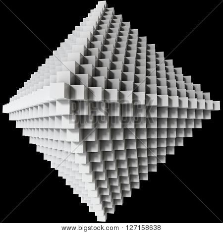 3D illustration of three-dimensional rhomb object consists of cubes