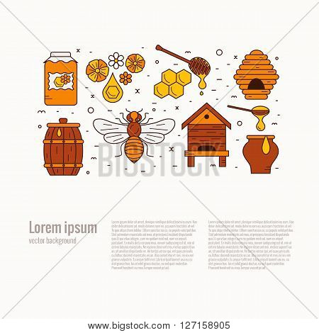 Honey product icon set. Honey vector symbols. Bee, honey, bee house, honeycomb, beehive, apiary,  flower. Outline style honey product icons. Mead product illustration