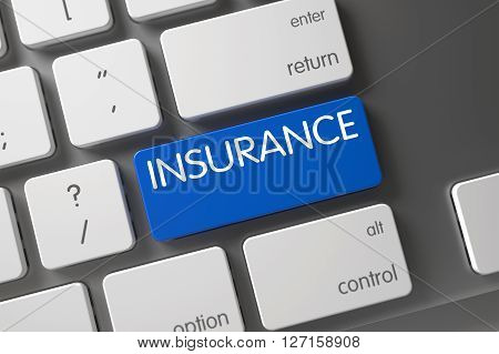 Concept of Insurance, with Insurance on Blue Enter Keypad on Modernized Keyboard. Modern Keyboard Keypad Labeled Insurance. Insurance CloseUp of Laptop Keyboard on Laptop. 3D Illustration.