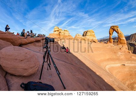 MOAB UTAH - AUGUST 28, 2015: Views of the Delicate Arch in Arches National Park near Moab on August 28, 2015. The Delicate Arch is a famous picture motive for photographers.