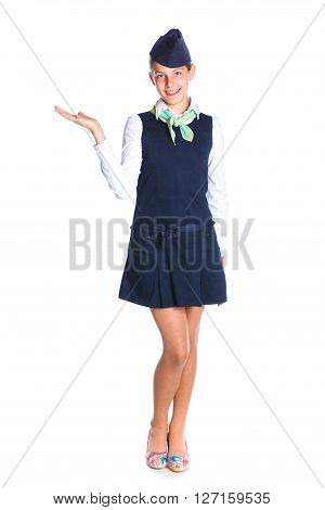 Charming Girl Stewardess Dressed In Blue Uniform On White Background