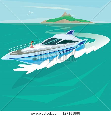 Young girl in a swimsuit sunbathing on the big fashion luxury yacht which floats from the island in the open ocean - Paradise pleasure or Luxury holidays concept