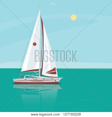 Lonely beautiful sailing yacht floats in the open ocean the boat in the water reflection excellent sunny weather - Weekend at sea or Solitude concept