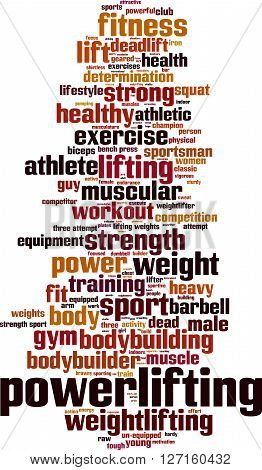 Powerlifting word cloud concept. Vector illustration on white