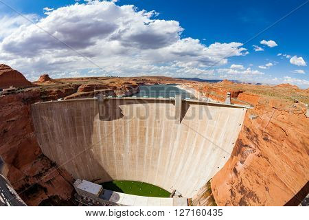 View of the Glen Canyon Dam Arizona