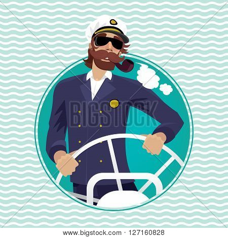 Isolated image in round frame with wave background happy sea captain looks funny with a mustache and a pipe rotates ship steering wheel - Profession or Sailor concept
