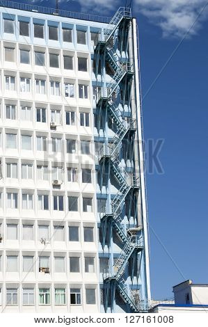 vertical fire escape on the high-rise building