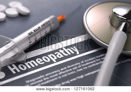 Homeopathy - Medical Concept with Blurred Text, Stethoscope, Pills and Syringe on Grey Background. Selective Focus. 3D Render.