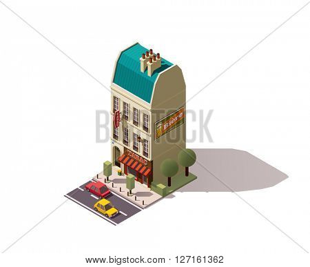 Isometric Paris building with tobacco store