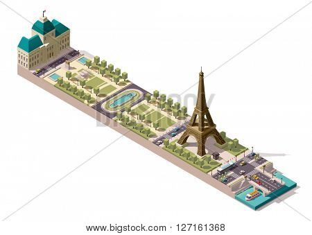 Simplified isometric map of the Field of Mars in Paris