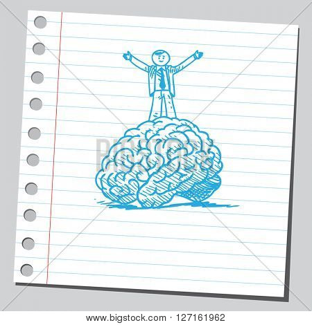 Businessman on top of brain