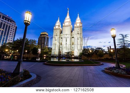 SALT LAKE CITY UTAH - AUGUST 30, 2015: Exterior views of the The Church of Jesus Christ of Latter-day Saints by sunset on August 30 2015. Iis a Christian restorationist church in Salt Lake City.