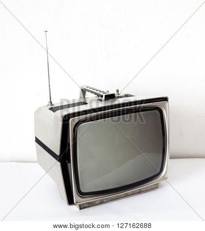 Vintage Gray TV on white table