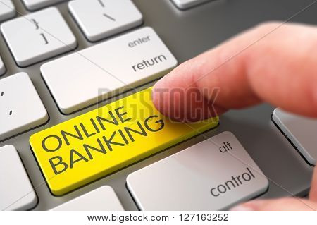 Computer User Presses Online Banking Yellow Button. Hand Touching Online Banking Button. Hand Pushing Online Banking Yellow White Keyboard Key. 3D Render.