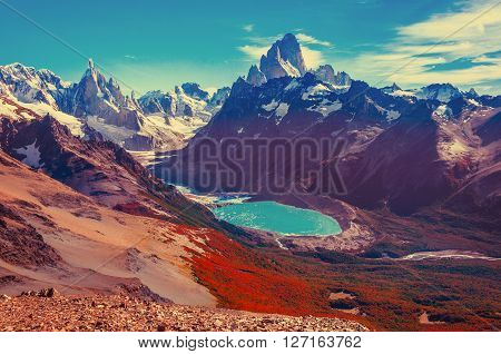 Amazing landscape with Fitz Roy and Cerro Torre mountains. Los Glaciares National park. Argentina.