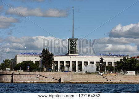 ST. PETERSBURG, RUSSIA - AUGUST 15, 2015: View to the building of Finlyandskiy Railway station. The station was opened in 1870, but the modern building was erected in 1960 in International Style