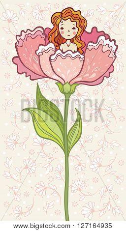 Fairy Tale. Girl Sitting in a Big Flower.