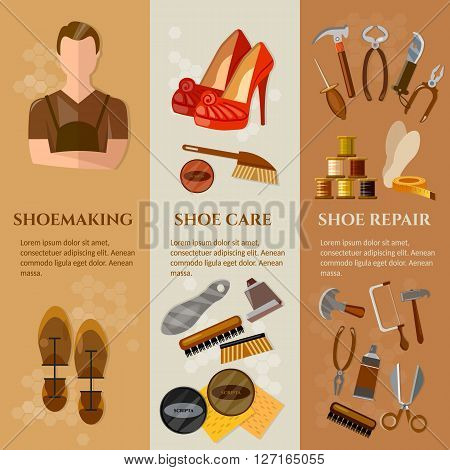 Shoemaker banners professional equipment cobbler shoe repair shoe care