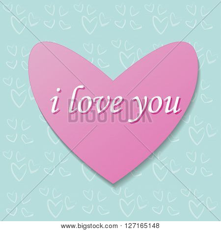 pink heart on a background pattern. Heart gift card with text i love you. Heart vector illustration. Heart bacground. Heart image.  Heart picture. Heart wallpaper. Heart card