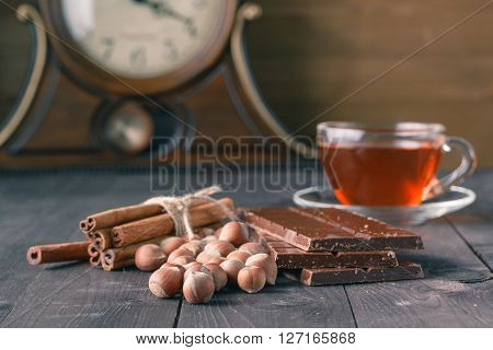 Closeup Of Anise, Cinnamon On Brown Background