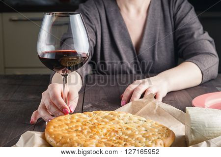 Focaccia And Wine On A Wooden Table. Mediterranean Lunch