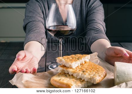 Adult Woman And A Glass Of Wine